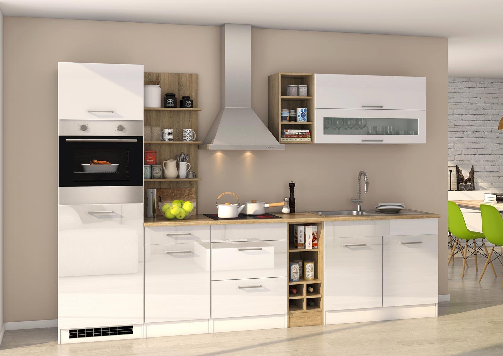Lifestyle4Living Küchenblock, weiß Hochglanz, Stellmaß: ca. 300 cm, mit Elektrogeräten