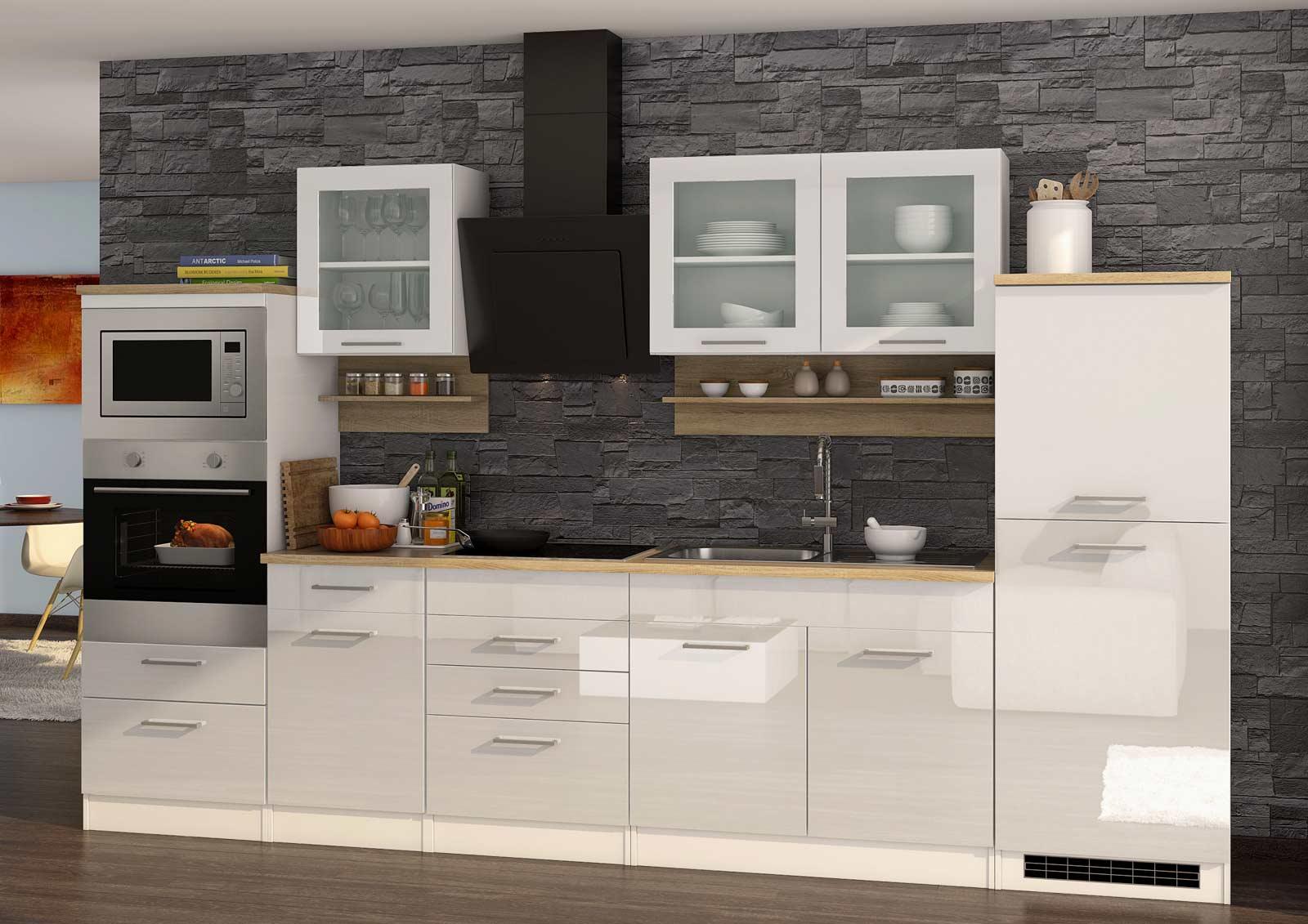Lifestyle4Living Küchenblock, weiß Hochglanz, Stellmaß: ca. 330 cm, mit Elektrogeräten