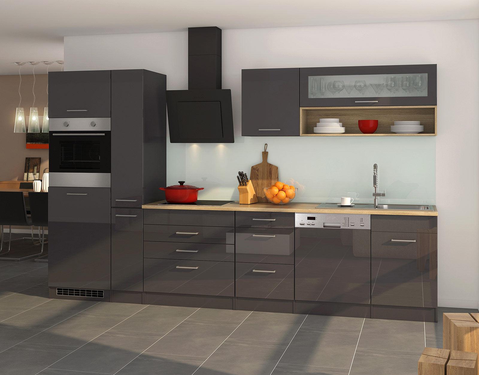 Lifestyle4Living Küchenblock, grau Hochglanz, Stellmaß: ca. 330 cm, mit Elektrogeräten inkl. Geschirrspüler