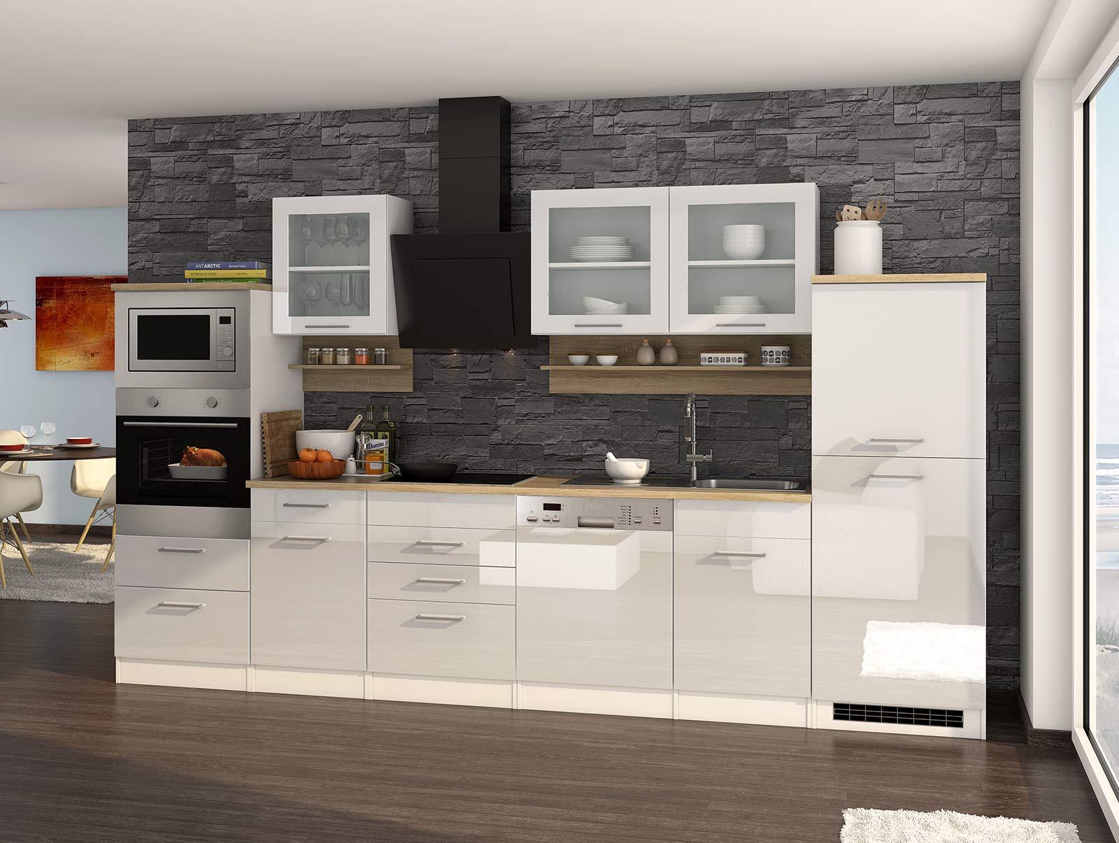 Lifestyle4Living Küchenblock, weiß Hochglanz, Stellmaß: ca. 340 cm, mit Elektrogeräten inkl. Geschirrspüler und Mikrowelle
