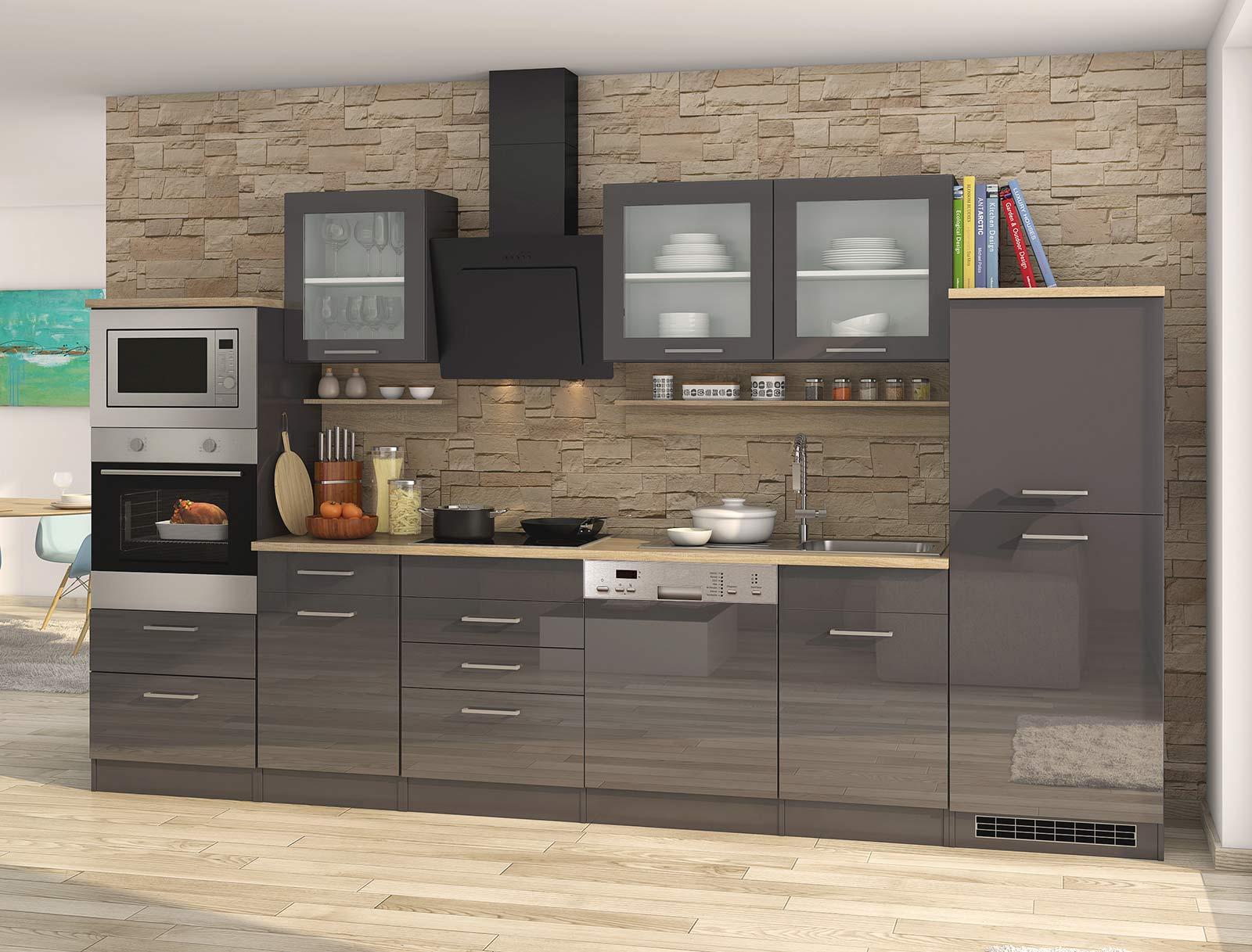 Lifestyle4Living Küchenblock, grau Hochglanz, Stellmaß: ca. 340 cm, mit Elektrogeräten inkl. Geschirrspüler und Mikrowelle