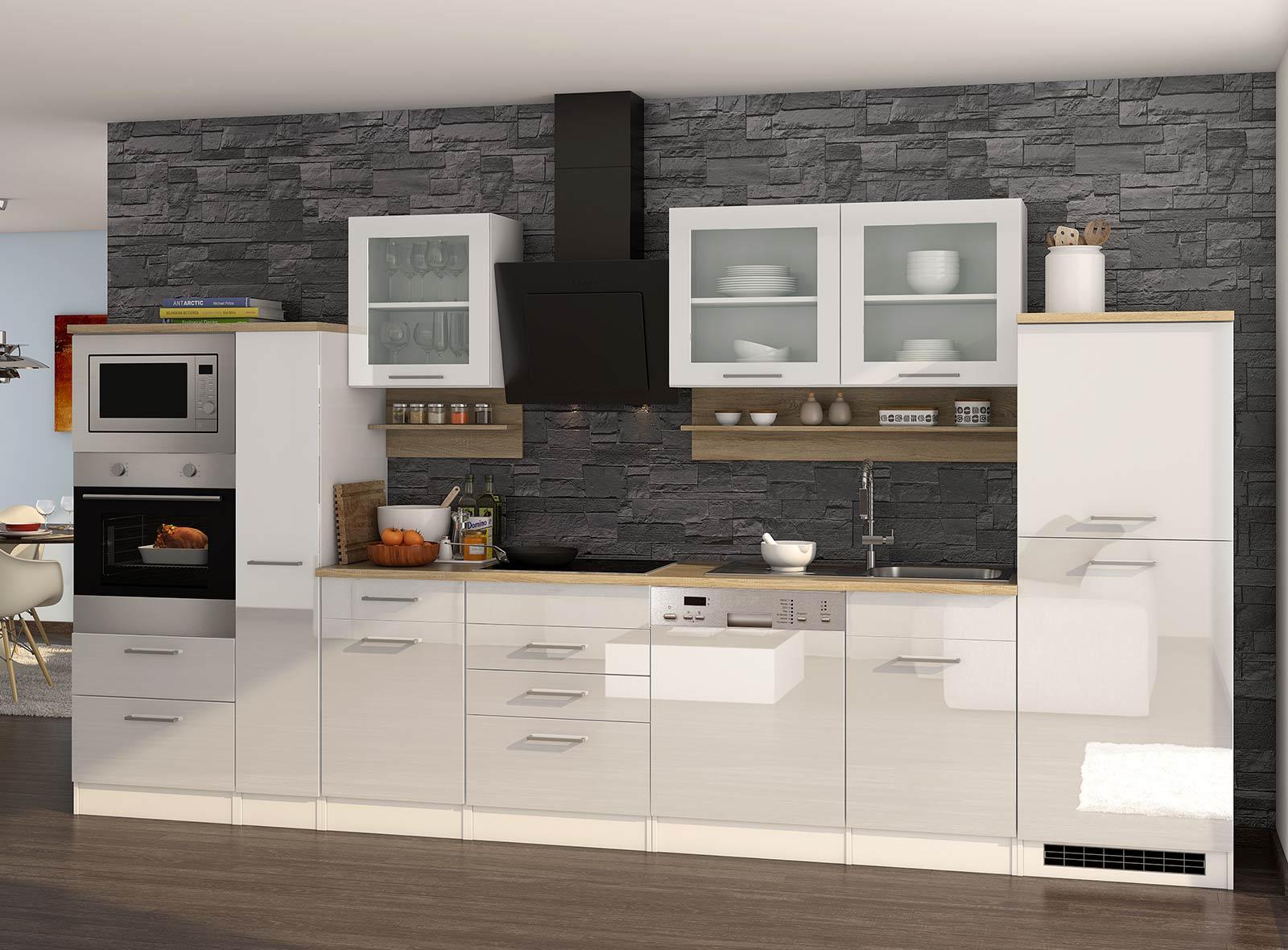 Lifestyle4Living Küchenblock, weiß Hochglanz, Stellmaß: ca. 370 cm, mit Elektrogeräten inkl. Geschirrspüler und Mikrowelle
