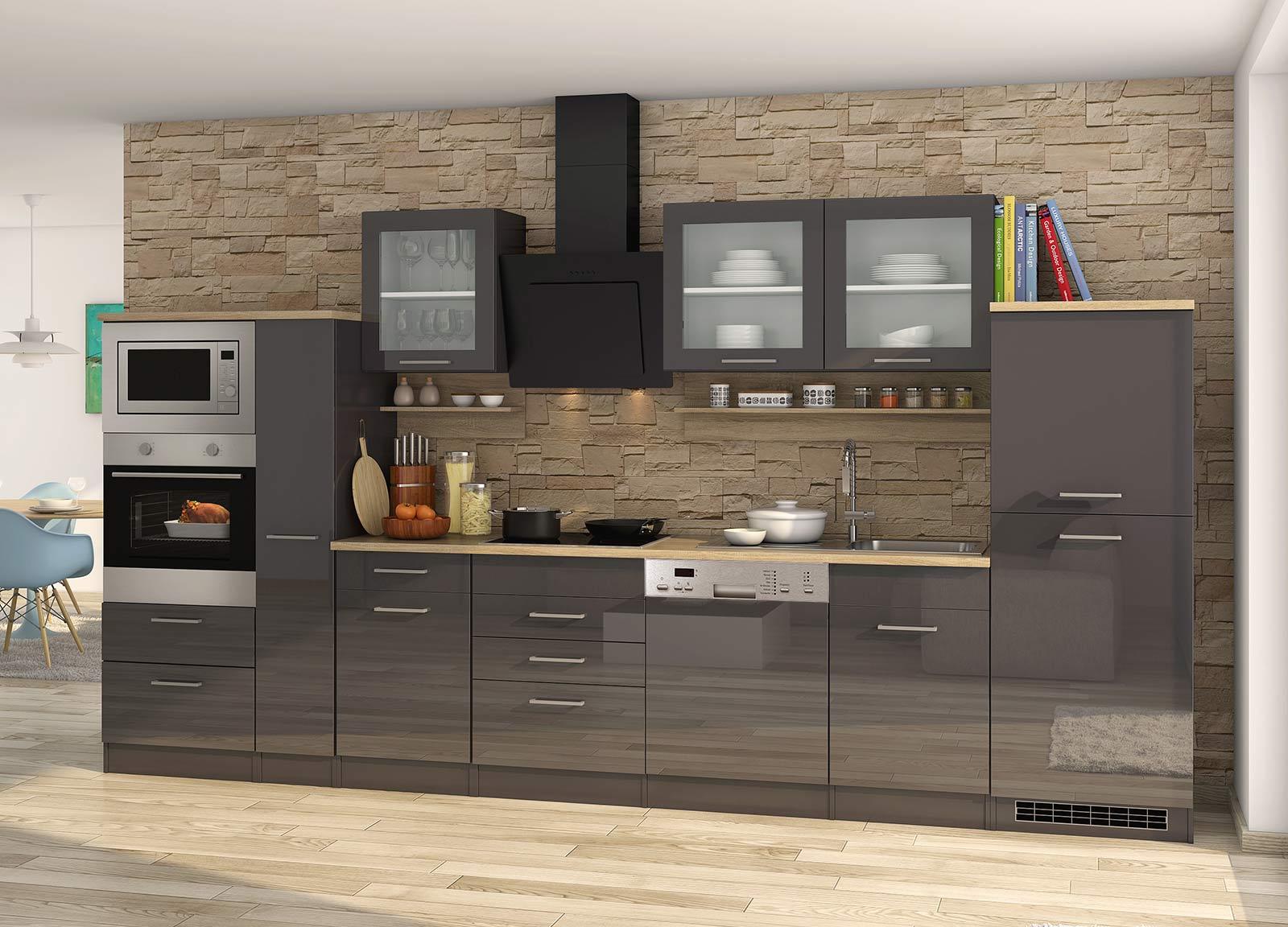Lifestyle4Living Küchenblock, grau Hochglanz, Stellmaß: ca. 370 cm, mit Elektrogeräten inkl. Geschirrspüler und Mikrowelle
