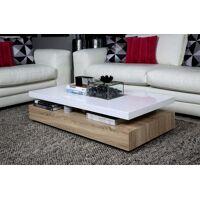 lifestyle4living couchtisch in sonoma-eiche-nachbildung mit tischplatte aus lackiertem holz in hochglanz weiß, maße: b/h/t ca. 117/29/58 cm
