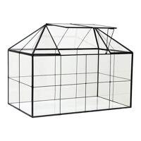 hk living mini glass greenhouse mini-gewächshaus - clear/black - t 40 cm - b 24 cm - h 32 cm