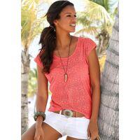 lascana t-shirt (2er-pack) ausbrenner-qualität mit leicht transparentem ethno-design, apricot   weiß