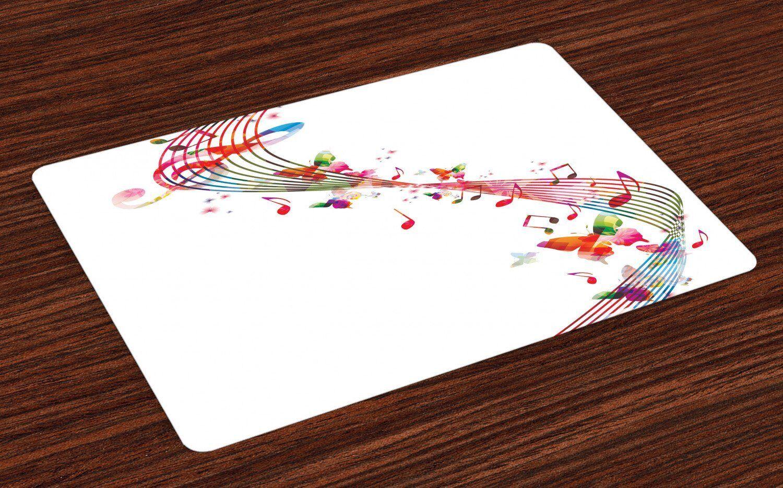 Abakuhaus Tischdecke, »Waschbare Stoff Esszimmer Küche Tischdekorations Digitaldruck«, , (4-teilig, 4 Teilig-St., Set aus 4x), Musik Bunte Anmerkungen Schmetterling