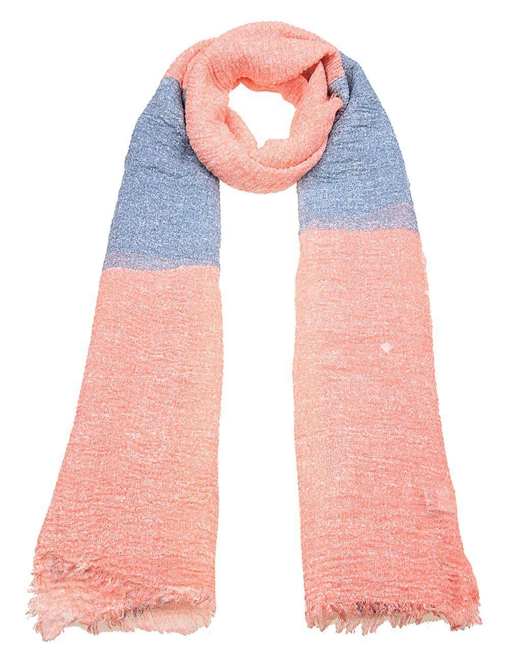 leslii Schal mit großen Quadraten »Color Squares«, grau-lachs-mint