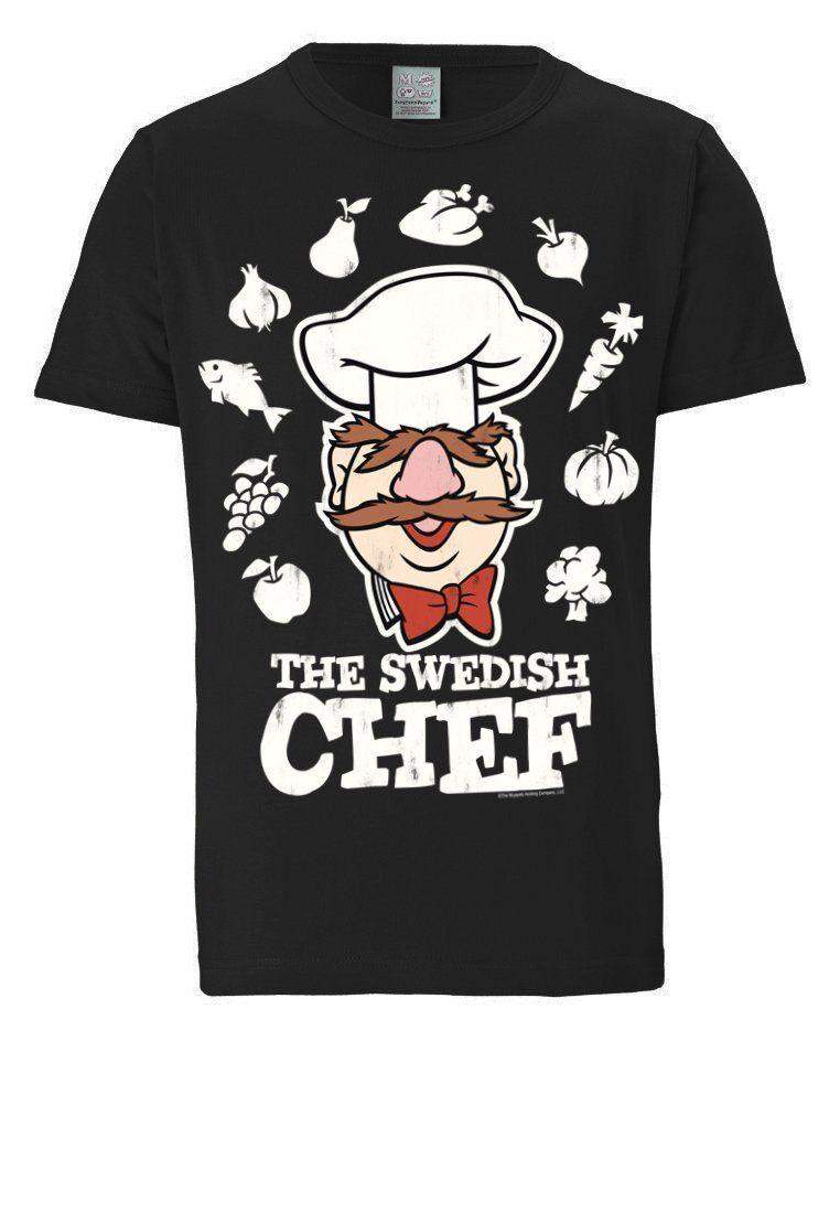 LOGOSHIRT T-Shirt mit tollem Frontprint »Der Chef Koch - Muppet Show«, schwarz