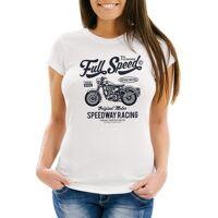 neverless print-shirt »damen t-shirt motorrad bike full speed slim fit ®« mit print, weiß