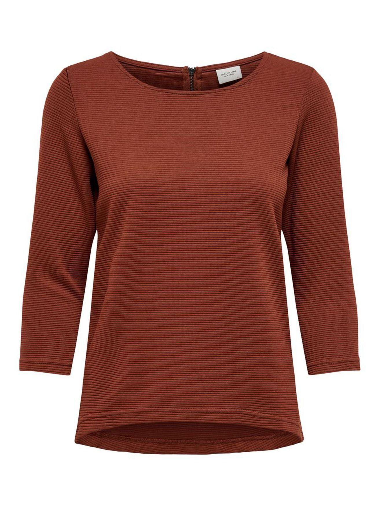 JACQUELINE de YONG Longpullover »2527« Damen Shirt Slim Fit Reißverschluss Casual JDYSAGA 3/4 ZIP TOP JRS NOOS, Braun