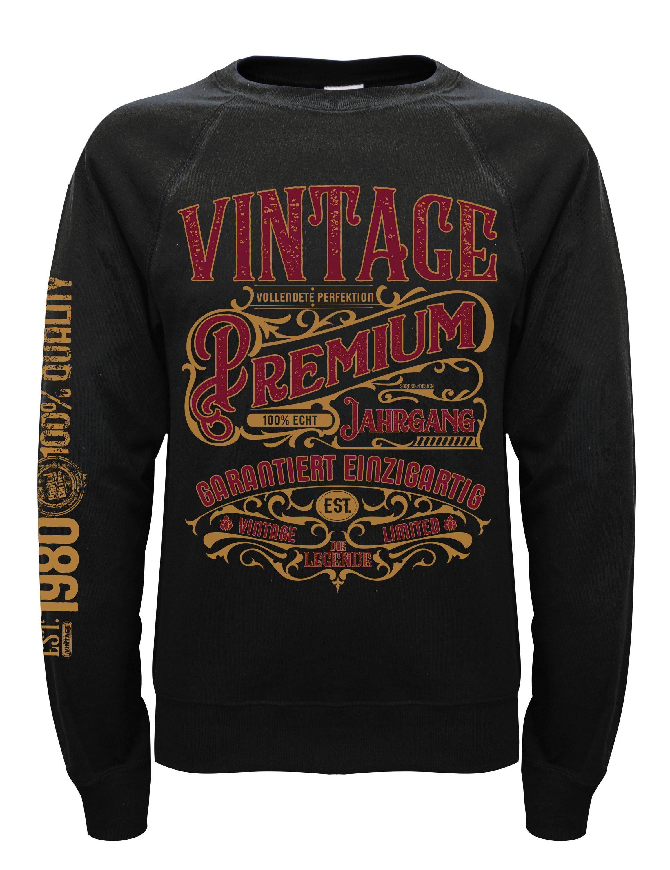 Soreso® Rundhalspullover »Pullover Premium Vintage 1980 Herren und Damen« (Sie erhalten einen Pullover mit Jahrgang 1980) Jahrgang Pullover zum Geburtstag