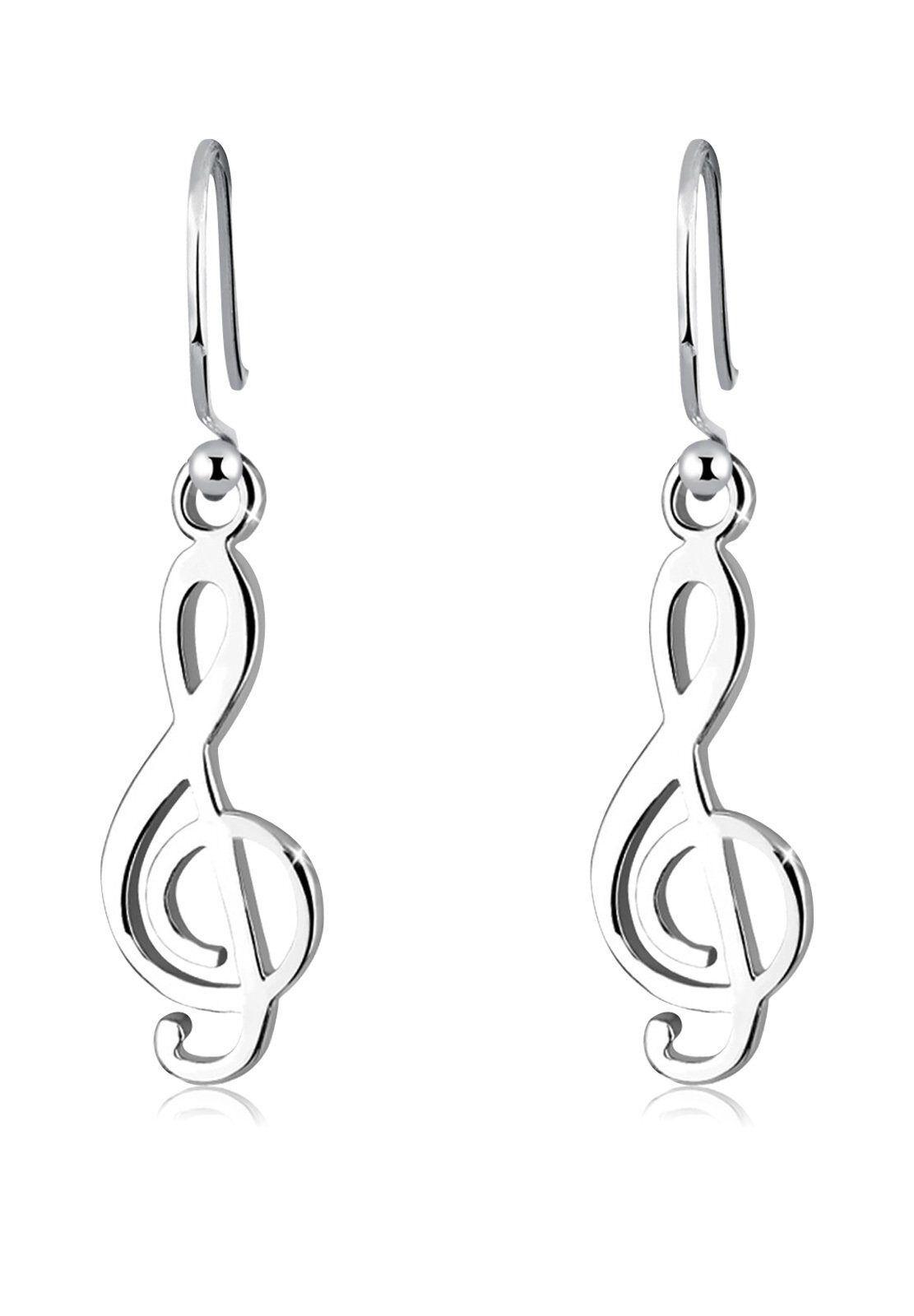 Elli Paar Ohrhänger »Notenschlüssel Musik Filigran 925 Silber«, Notenschlüssel