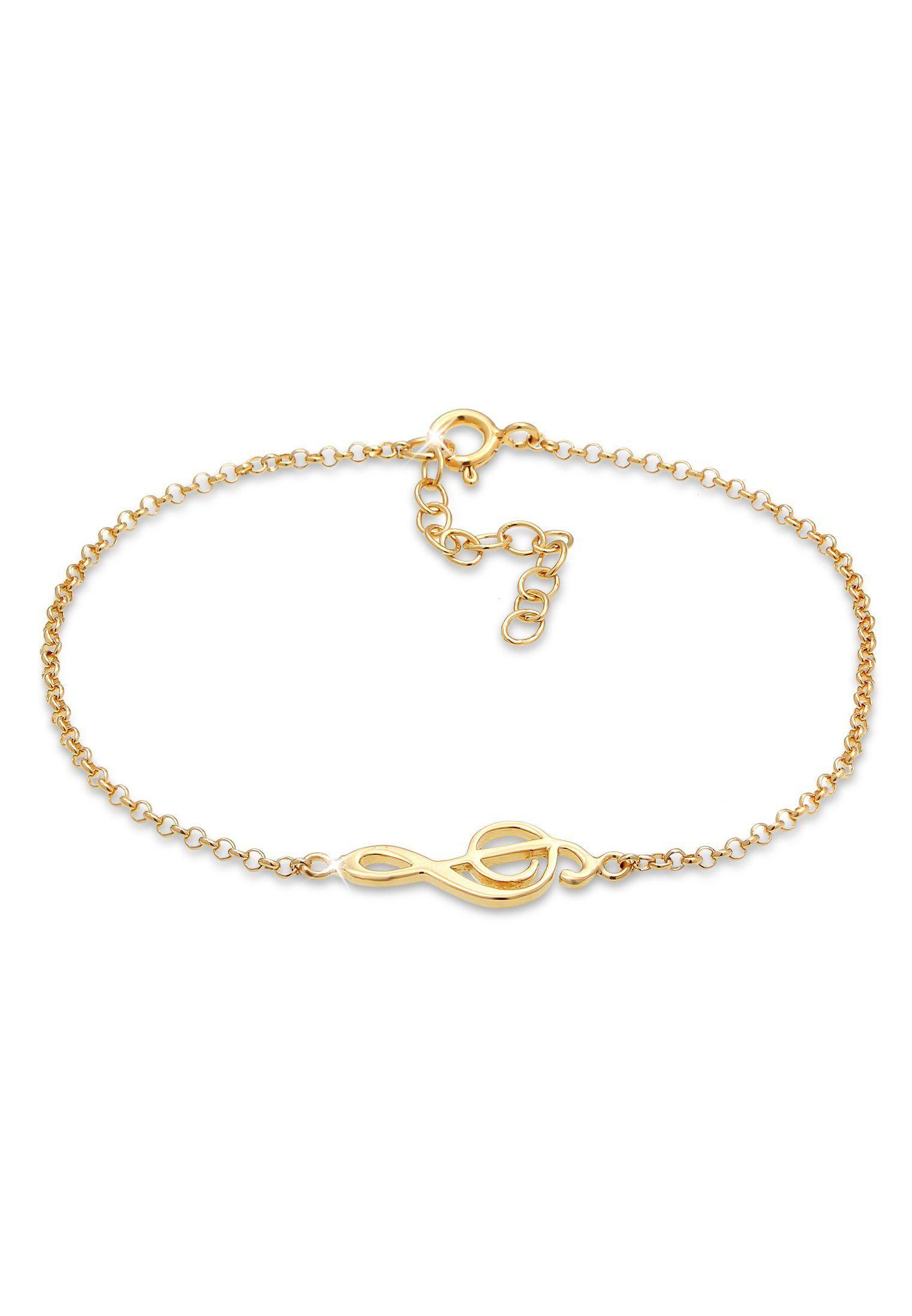 Elli Armband »Armkettchen Notenschlüssel Musik Note 925 Silber«, Gold