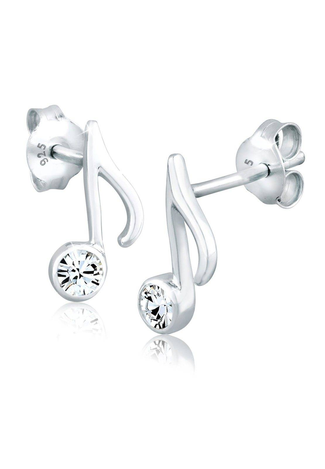 Elli Paar Ohrstecker »Note Musik Swarovski® Kristalle 925 Silber«, Note, Silber