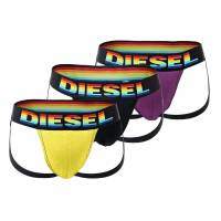 diesel tanga »herren jockstrap 3er pack - fresh&bright, cotton«, schwarz/lila/gelb