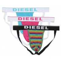 diesel tanga »herren jockstrap 3 pack - jockythreepack,«, türkis/pink/multicolor