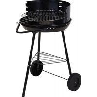 bbq grill rund mit rädern aus schwarzem stahl 86 x 57 x 99 cm