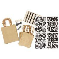 braun buttinette adventskalendertüten-set, braun-schwarz-weiß, 24 stück