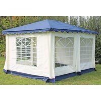 stabilezelte pavillon 3x4m blau polyester / pvc gartenpavillon deluxe wasserdicht