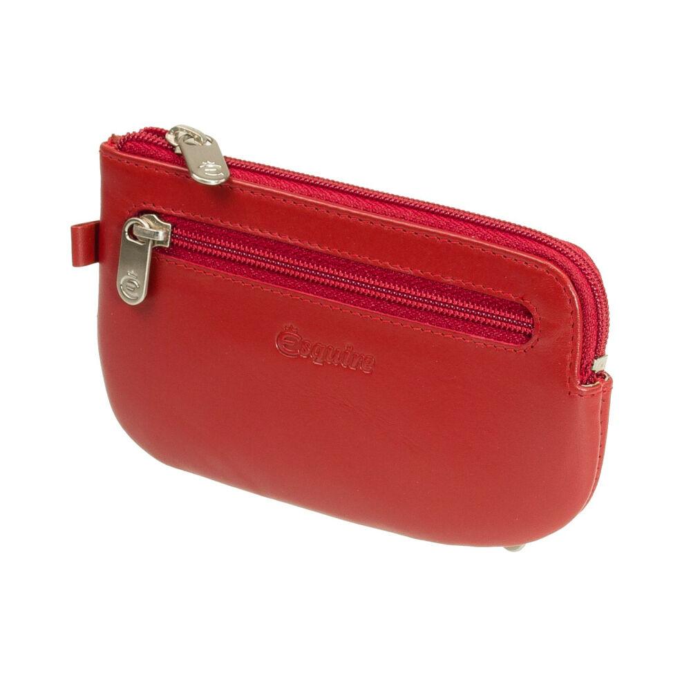 Esquire Damen Schlüsseletui Esquire Silk Rot Leder mit extra Steckfach für KFZ-Schlüssel