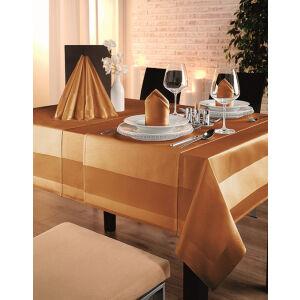 W.F. GÖZZE Frottierweberei GmbH Gözze TOCCATA-Atlaskante Tischwäsche, 100 x 100 cm, Feinste Tischdecke mit Atlaskante, Farbe: orange