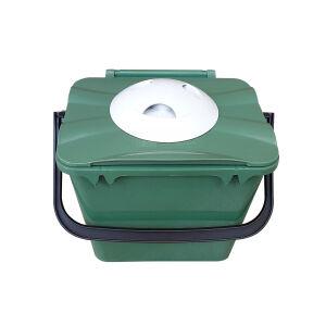 Biologic Küchen Vorsortierbehälter mit Geruchsfilter, grün, Abfalleimer aus Kunststoff für die geruchsfreie Biomüllsammlung zuhause, Volumen: 7 Liter