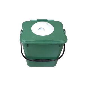 Biologic Küchen Vorsortierbehälter mit Geruchsfilter, grün, Abfalleimer aus Kunststoff für die geruchsfreie Biomüllsammlung zuhause, Volumen: 10 Liter