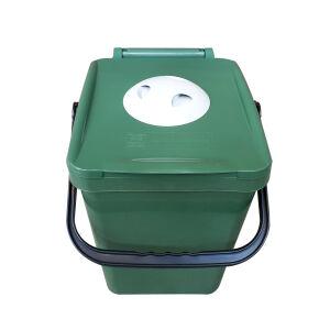 Biologic Küchen Vorsortierbehälter mit Geruchsfilter, grün, Abfalleimer aus Kunststoff für die geruchsfreie Biomüllsammlung zuhause, Volumen: 20 Liter