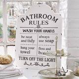 LOBERON Deko-Schild Bathroom antikweiß