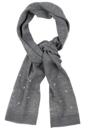 Ulla Popken Dames Sjaal grijs  polyacryl/polyester Mode in grote maten
