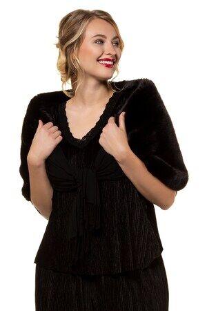 Ulla Popken Schal Damen, schwarz, Viskose, Mode in großen Größen