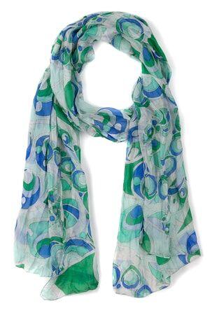 Ulla Popken Dames Sjaal multicolour  zijde Mode in grote maten