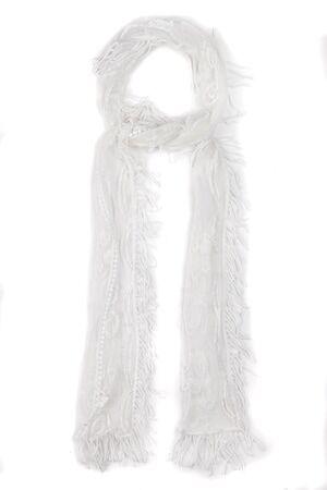 Ulla Popken Dames Sjaal wit  polyamide/Andere vezels Mode in grote maten