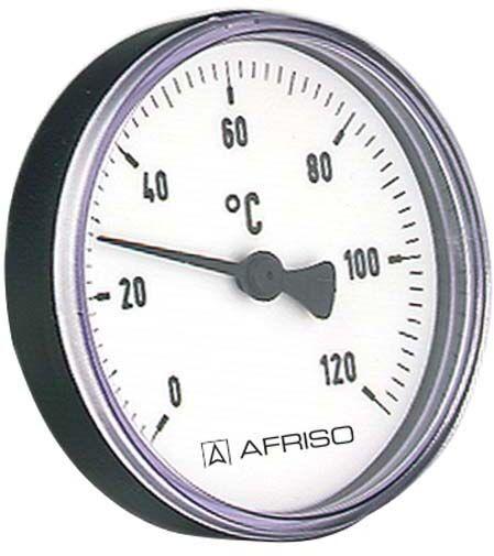 """Afriso Bimetall Thermometer 0-120 Grad 63708 Gehäuse 80mm, 40mm Schaft, 1/2"""" Anschluss"""