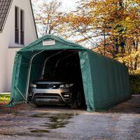 toolport zeltgarage 3,3x8,4m pvc 550 g/m² dunkelgrün wasserdicht garagenzelt