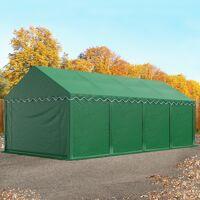 toolport lagerzelt 4x8m pvc 500 g/m² dunkelgrün wasserdicht unterstand, lager