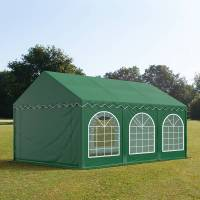 toolport partyzelt 4x6m pvc 500 g/m² dunkelgrün wasserdicht gartenzelt, festzelt, pavillon
