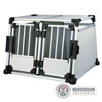 trixie doppel transportbox alubox autobox für 2 hunde, aluminium, 93 × 64 × 88 cm