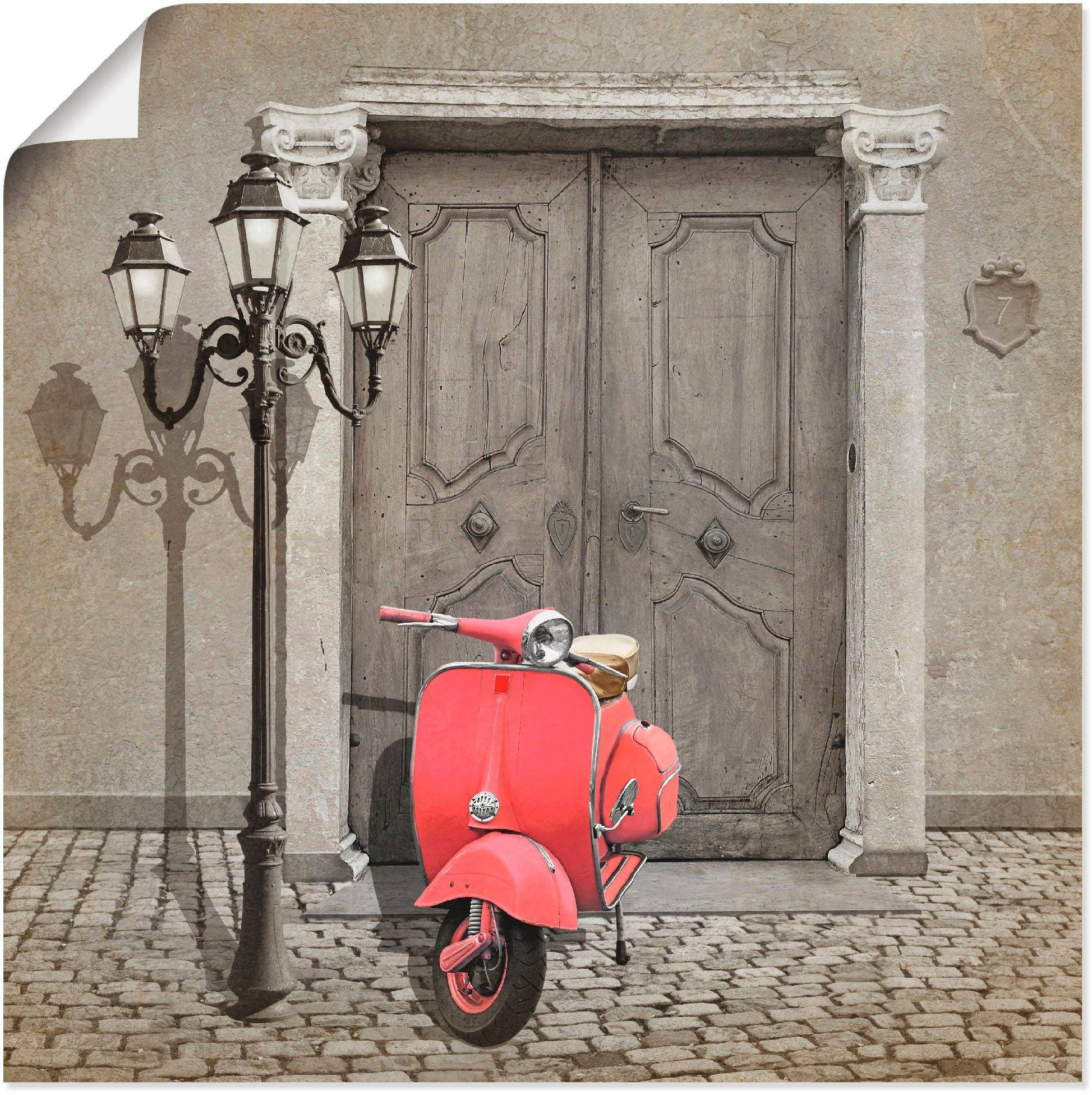 Artland Wandbild »Oldtimer Motorroller Colorkey«, Motorräder & Roller (1 Stück)