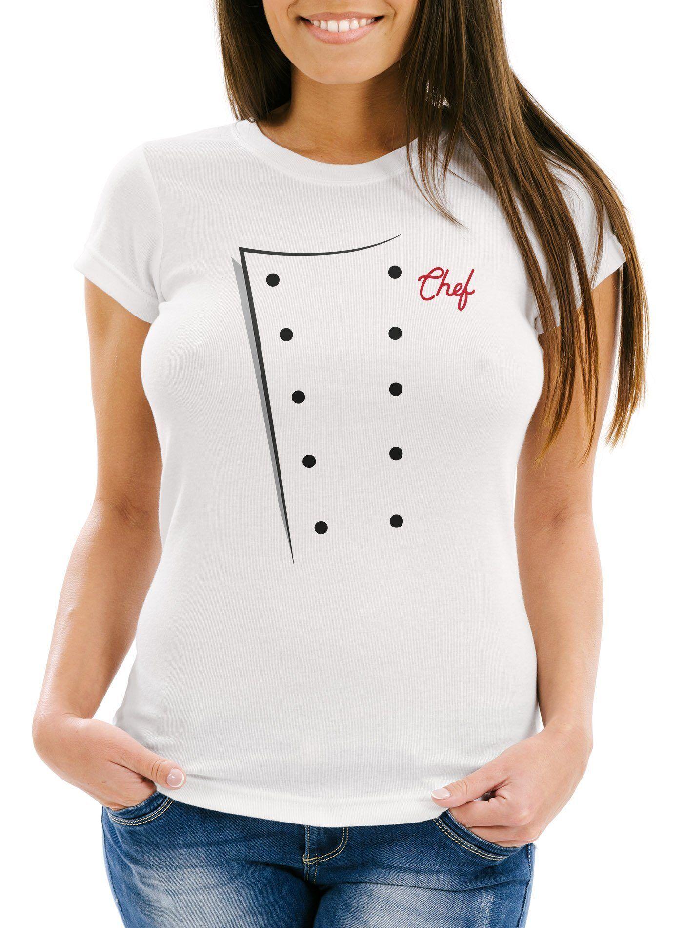 MoonWorks Print-Shirt »Damen T-Shirt Koch Köchin Kochjacke Chefkoch Kostüm Fasching Karneval Faschingsshirt ®« mit Print
