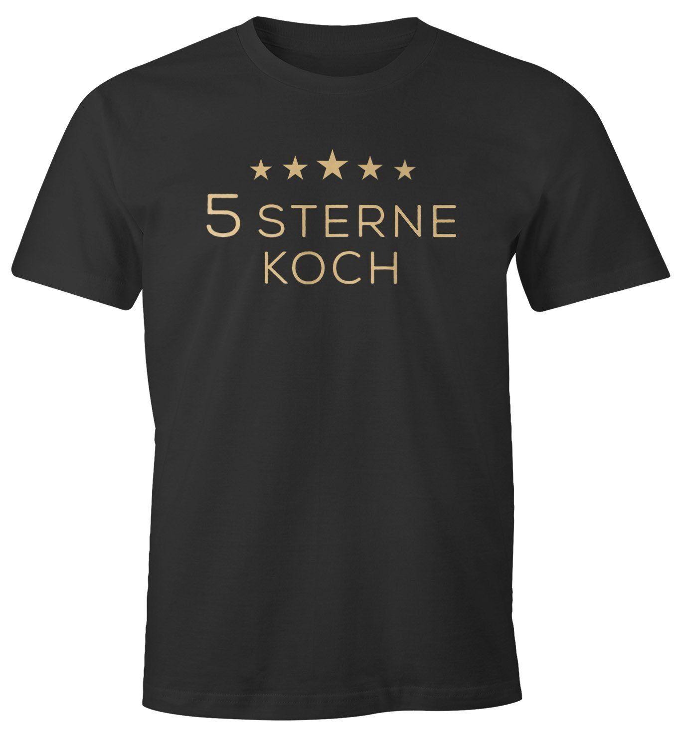 MoonWorks Print-Shirt »Herren T-Shirt Spruch Aufdruck 5 Sterne Koch Fun-Shirt Spruch lustig ®« mit Print