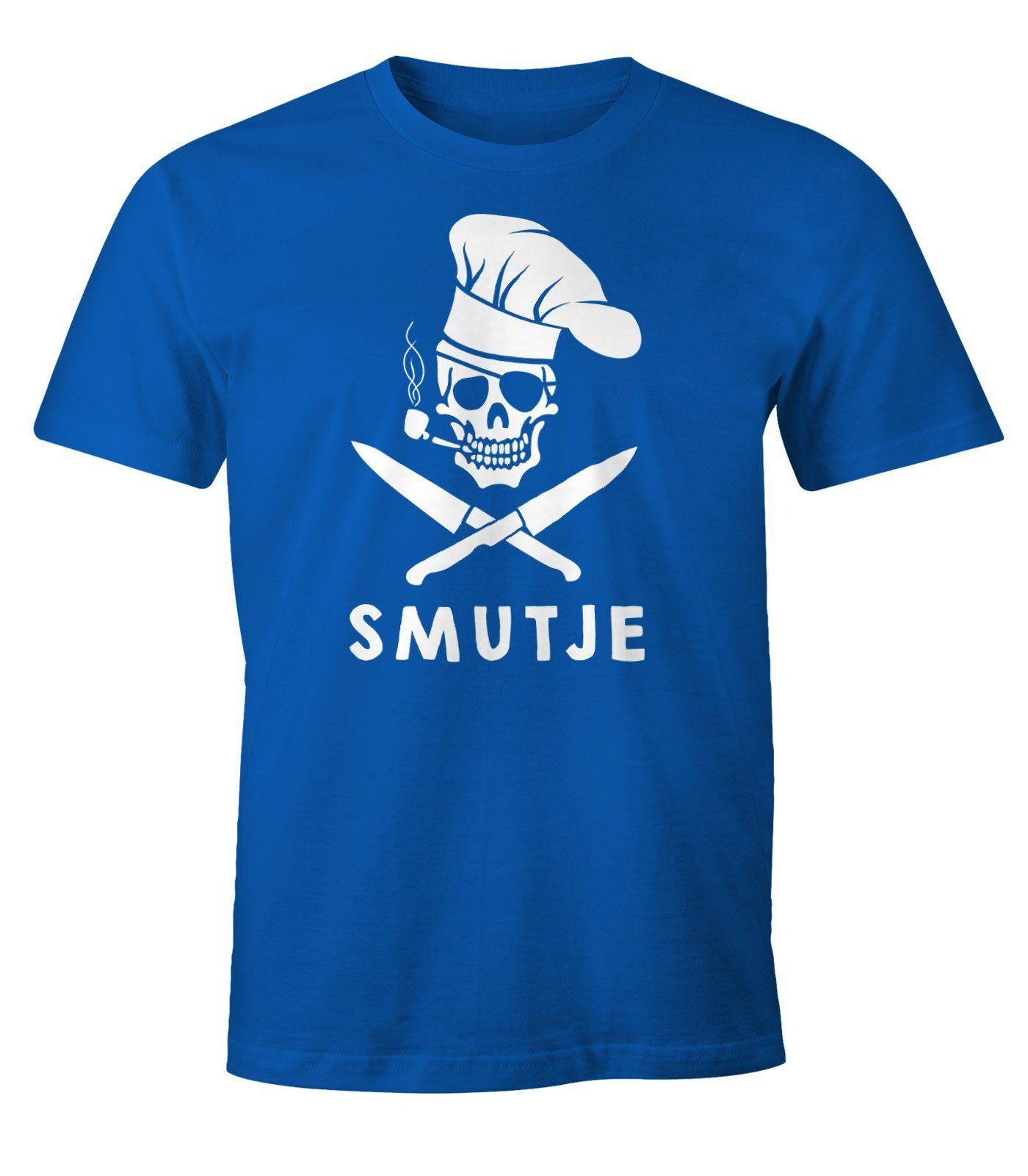 MoonWorks Print-Shirt »Herren T-Shirt Koch Smutje Pirat Fun-Shirt ®« mit Print, blau