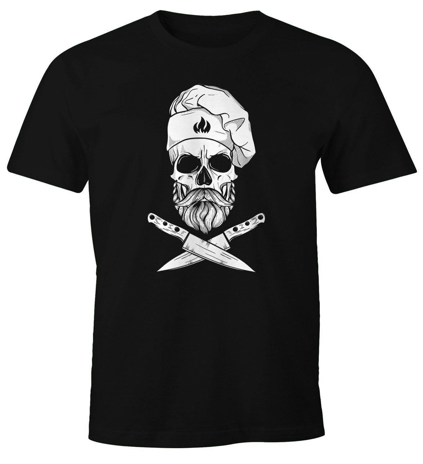 MoonWorks Print-Shirt »Herren T-Shirt Grillen Koch Totenkopf Messer Hipster Skull Chef Grill-Shirt ®« mit Print, schwarz