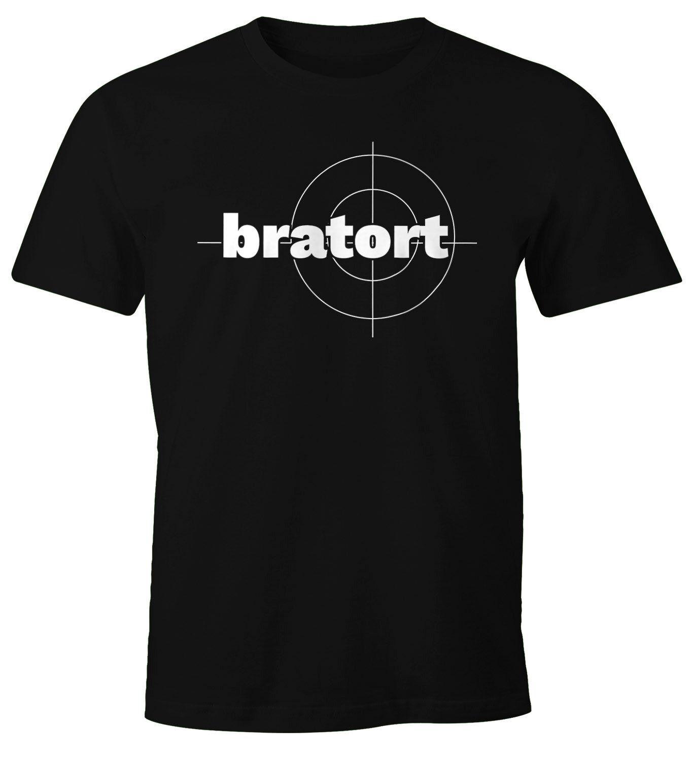 MoonWorks Print-Shirt »Herren T-Shirt bratort Fun-Shirt Motiv Shirt Parodie Grillen BBQ Barbecue Koch Sommer Foodie Küche ®« mit Print, schwarz