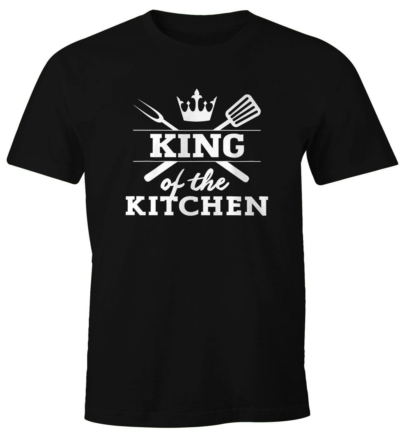 MoonWorks Print-Shirt »Herren T-Shirt King of the kitchen Fun-Shirt Spruchshirt Kochen Food Grillen Barbecue ®« mit Print