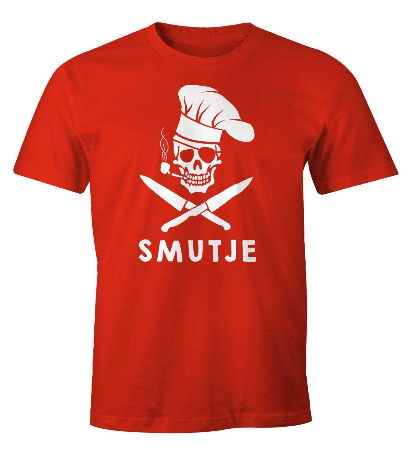 MoonWorks Print-Shirt »Herren T-Shirt Koch Smutje Pirat Fun-Shirt ®« mit Print, rot