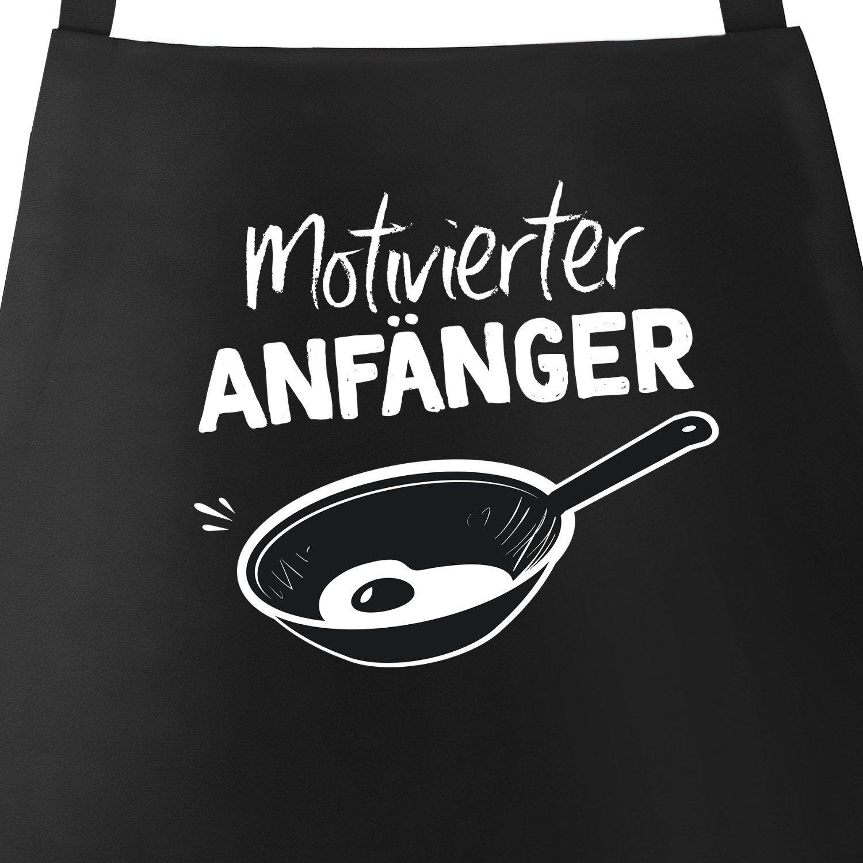 MoonWorks Grillschürze »Grill-Schürze für Männer mit Spruch Motivierter Anfänger Grillanfänger Kochanfänger grillen kochen Baumwoll-Schürze Küchenschürze ®«, mit kreativem Aufdruck