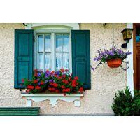 papermoon fototapete »bavarian window«, matt, blueback, 7 bahnen, 350 x 260 cm