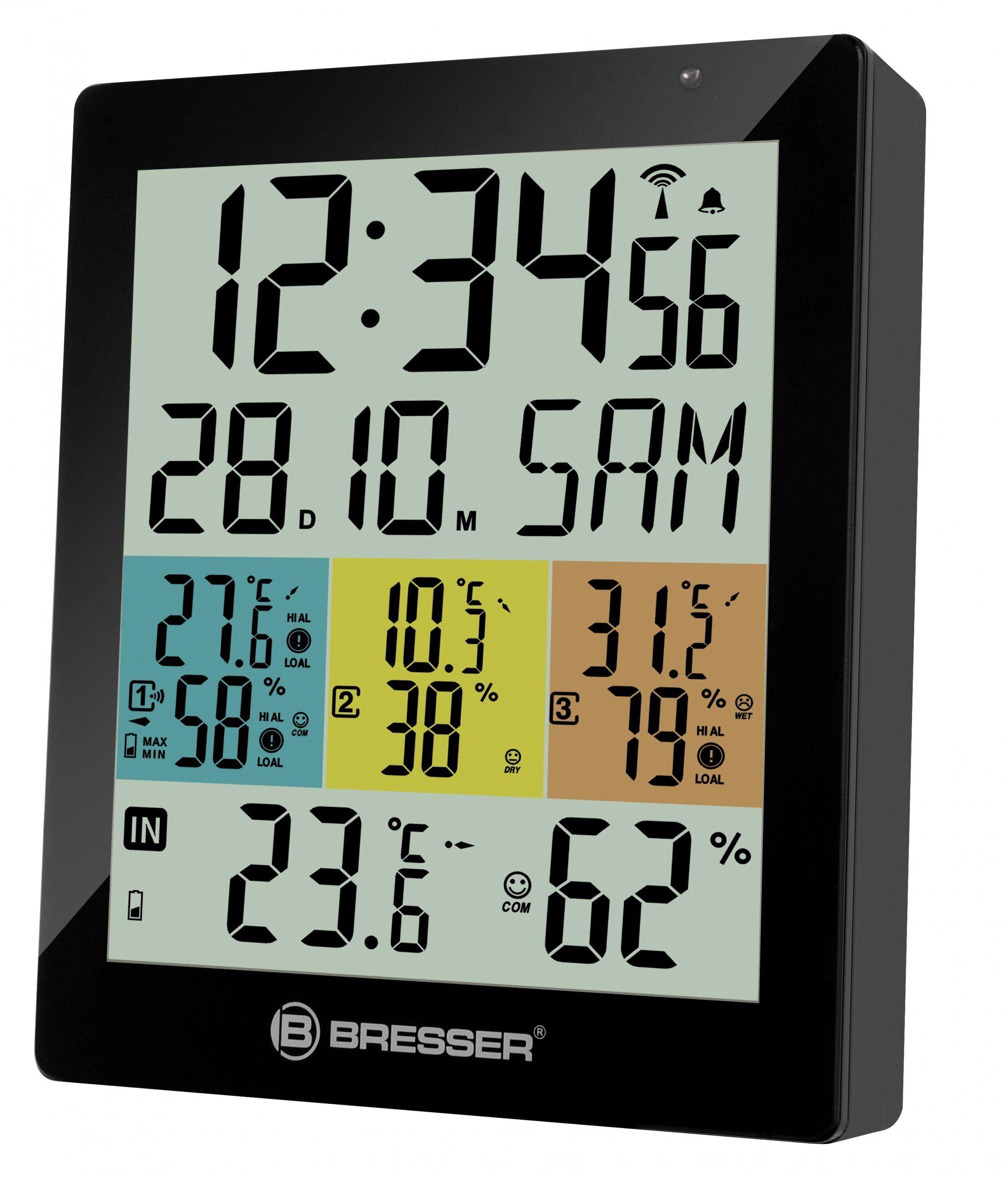 BRESSER Thermometer »Temeo Hygro Quadro DLX für 4 Messorte gleichzeitig«, schwarz